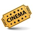 Yellow cinema ticket vector image