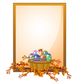An empty frame signage with a basket of eggs vector image vector image