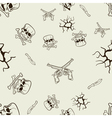 Seamless texture of sketches of skulls and pistols vector image