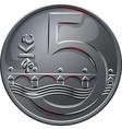 Money five czech crones coin reverse vector image