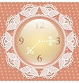 Vintage background with elegance clock and lace vector image