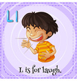 Flashcard letter L is for laugh vector image