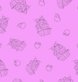 sweet cupcakes pattern vector image