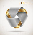 Abstract metal shape with steel and gold elements vector image
