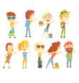 hitch hike traveler person set for label design vector image