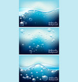 three underwater backgrounds with bubbles vector image