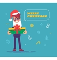 Businessman in santa hat with beard giving gift vector image vector image