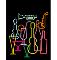 neon sillhouettes vector image