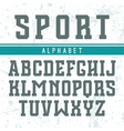 Rectangular serif font in the style of college vector image