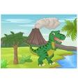 Prehistoric scene with tyrannosaurus cartoon vector image