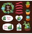 Cute succulents wedding graphic set vector image