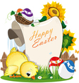 Chicken and Easter eggs with a paper scroll vector image