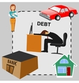 debt concept cartoon flat design vector image