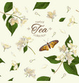 Jasmine tea seamless pattern vector image