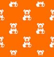 teddy bear holding a heart pattern seamless vector image