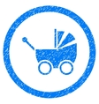Baby Carriage Rounded Icon Rubber Stamp vector image