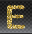 gold glittering letter e shining golden vector image