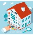 3d smart home concept House control button vector image