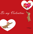 Valentines Day dog with balloons flying postcard vector image