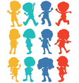 Silhouette children in four colors vector image