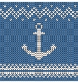 anchor ornament on the wool knitted texture vector image