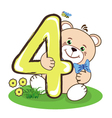 The number four and cheerful bear vector image