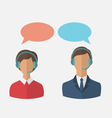 flat icons of call center operators with man and vector image