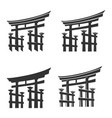 japan gate torii silhouette set vector image