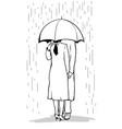 lovers under umbrella vector image