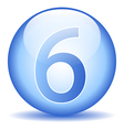 Number six button vector image
