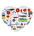 Travel concept card of love for Lisbon - heart vector image