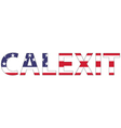 word Calexit USA flag vector image
