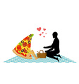 Pizza on picnic Rendezvous in Park piece of pizza vector image
