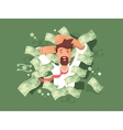 Man in a pile of money vector