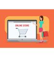 Online shopping girl Business cartoon concept vector image