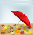 Autumn frame with umbrella and leaves vector image vector image