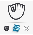 Baseball glove sign icon Sport symbol vector image