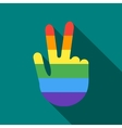 Hand in rainbow flag colors making the V sign icon vector image