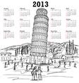 leaning tower of pisa 2013 calendar vector image
