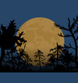 night of halloween a big yellow moon in the vector image