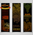 set of dark Thanksgiving vertical banners vector image