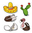 vulture it feather and egg sambrero cactus vector image
