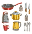 Kitchen and cooking utensils sketches vector image