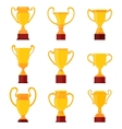 Winners gold cups Set of different golden bowls vector image