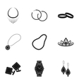 Jewelry and accessories set icons in black style vector image