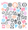buttons hand drawn isolated set handmade vector image