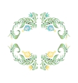in folk style Yellow blue flowers vector image
