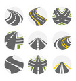 curving road set roads logo set in grey vector image