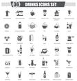 Drinks black icon set Dark grey classic vector image