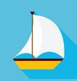 Flat Sailing Ship with Long Shadow vector image
